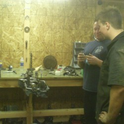 Gary and Ryan discussing the finer points of engine building.