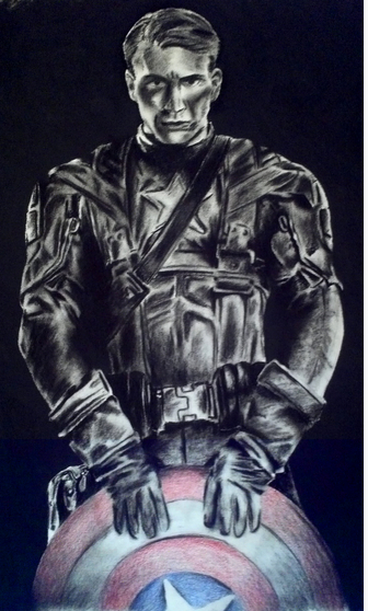 Captain America, by Jade Axline. (Charcoal and pencils)